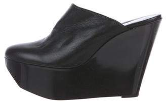 Robert Clergerie Clergerie Paris Leather Wedged Mules
