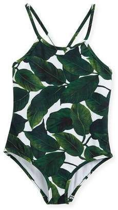 Milly Minis Palm-Print One-Piece Crossback Swimsuit, Size 4-7