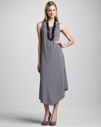 Eileen Fisher Handkerchief-Hem Slub Maxi Dress