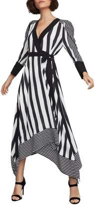 BCBGMAXAZRIA Costa Stripe Faux Wrap Dress