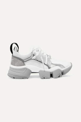Givenchy Jaw Mesh And Suede-trimmed Leather, Neoprene And Rubber Sneakers - Silver