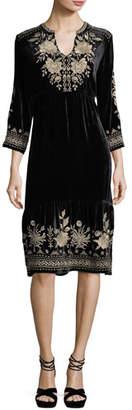 Johnny Was Magdalene 3/4-Sleeve Embroidered Velvet Dress, Plus Size