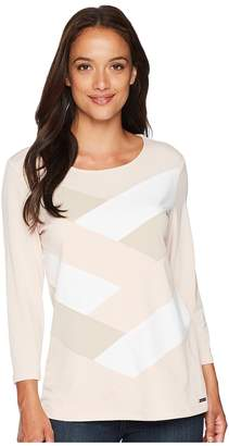 Calvin Klein 3/4 Sleeve Patchwork Top Women's Sleeveless