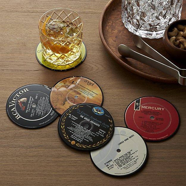 Crate & Barrel Set of 6 Record Coasters