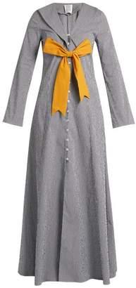 Rosie Assoulin Seeker Detachable Bow Gingham Coat - Womens - Navy White