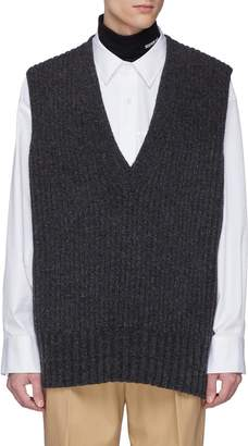 Calvin Klein Zip outseam oversized lamb wool rib knit vest