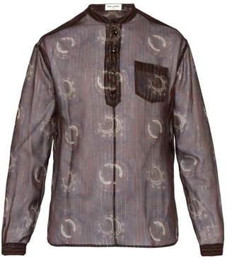 Saint Laurent Paisley Print And Gold Lame Silk Blend Shirt - Mens - Burgundy Multi