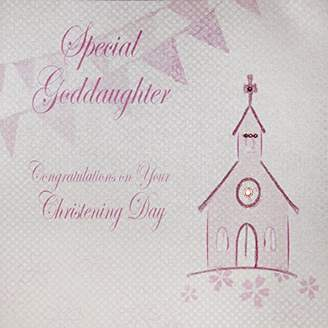 DAY Birger et Mikkelsen WHITE COTTON CARDS Large Special Goddaughter Congratulations On Your Christening Handmade Christening Card, Pink