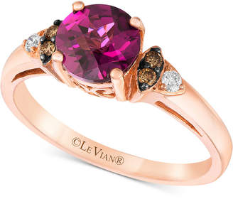 LeVian Le Vian Chocolatier Raspberry Rhodolite- (1-1/3 ct. t.w.) & Diamond (1/10 ct. t.w.) Ring in 14k Rose Gold