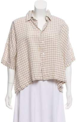 eskandar Linen Gingham Button-Up Top