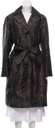 Ellen Tracy Hooded Printed Long Coat