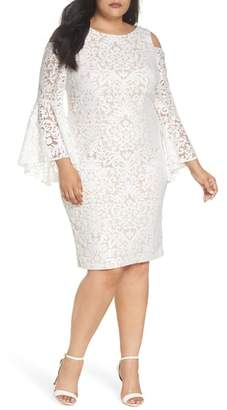 Xscape Evenings Lace Bell Sleeve Sheath Dress