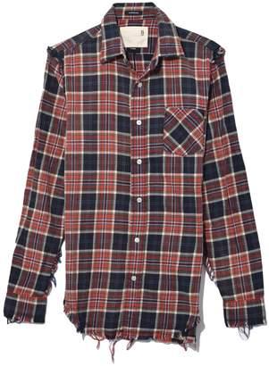 R 13 Shredded Seam Shirt in Red/Navy Plaid