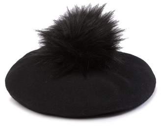NORLA Faux Fur Pompom Stretchy Beret