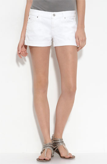7 For All Mankind Rolled Cuff Shorts (Clean White Wash)