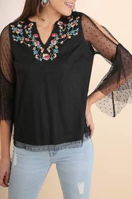 Umgee USA Black Embroidered Top