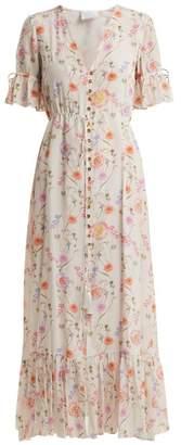 Athena Procopiou - Gold In The Air Of Summer Silk Dress - Womens - White Print