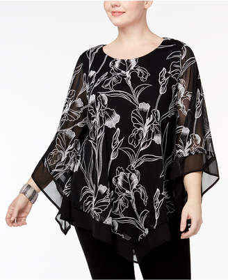 Alfani Plus Size Embroidered Poncho Top, Created for Macy's