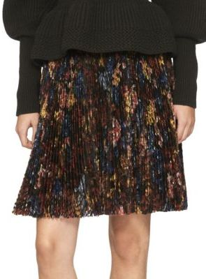 Burberry Pleated Garden Floral-Print Silk Skirt