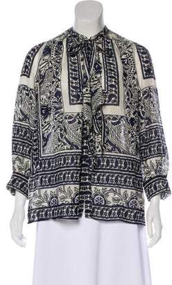 Anna Sui Long Sleeve Printed Blouse