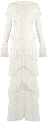 Tiered-ruffle guipure-lace dress