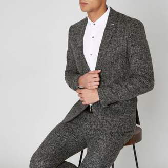 River Island Navy check print skinny suit jacket