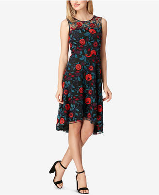Tahari ASL Floral-Print Sleeveless Embroidered Dress