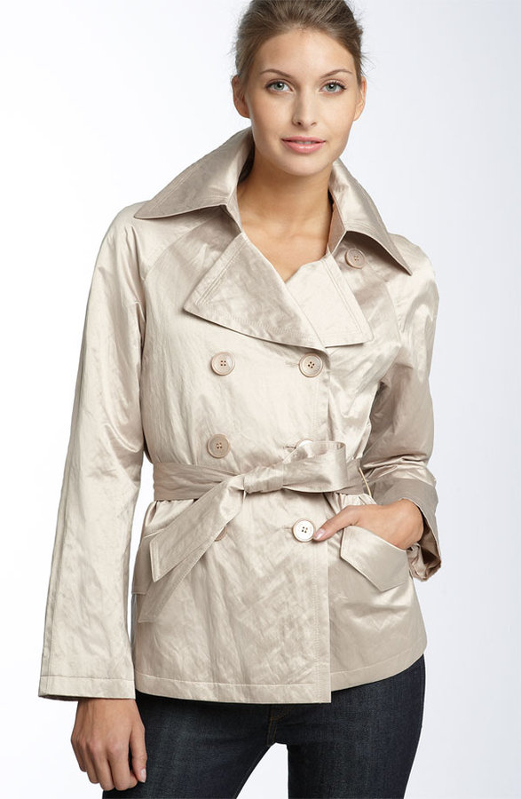 DKNY 'Piper' Crinkled Satin All Weather Short Trench Coat