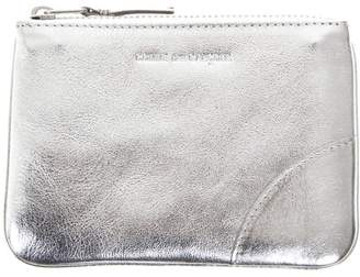 Comme des Garcons Silver Metallic Leather Pouch