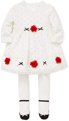 Little Me Baby Girls 2-Pc. Dot-Print Dress & Footed Tights Set
