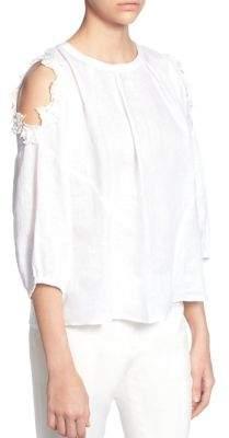 Catherine Malandrino Priya Cold-Shoulder Linen Blouse