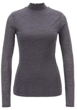 BOSS Hugo Turtleneck top in lightweight fabric lined body S Charcoal