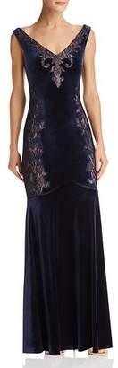 BCBGMAXAZRIA Lace-Inset Velvet Gown