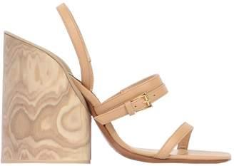 100mm Wood Heel Leather Sandals