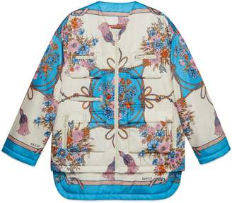 1d3f18c9e86 Gucci Padded nylon jacket with flowers and tassels