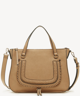 Sole Society Women's Destin Satchel Vegan Studded Whipstich In Color: Camel Bag Vegan Leather From