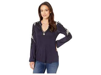 Lucky Brand Embroidered Sleeve Top