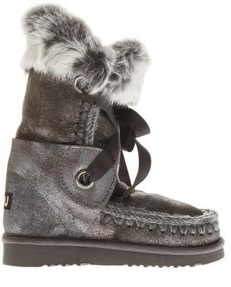 Mou Eskimo Grey Laced Up Leather Boots