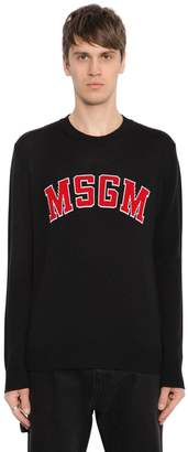 MSGM Logo Jacquard Wool Blend Sweater