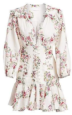 Zimmermann Women's Honour Corset Long-Sleeve Floral Linen Dress