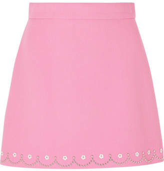 Miu Miu Embellished Wool-crepe Mini Skirt - Bubblegum