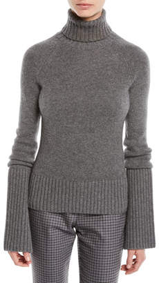 Michael Kors Turtleneck Bell-Sleeve Cashmere Pullover Sweater