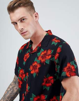 New Look Revere Shirt In Slim Fit With Red Floral Print In Black
