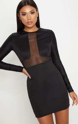 PrettyLittleThing Black Mesh Insert Long Sleeve Bodycon Dress