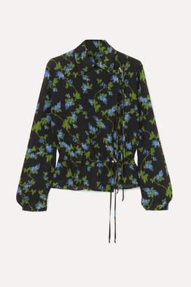 Altuzarra Terese Floral-print Silk Crepe De Chine Blouse - Black