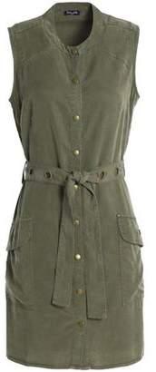 Splendid Belted Washed-Twill Mini Dress