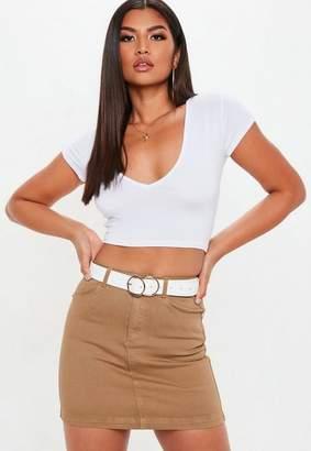 Missguided Petite Camel Superstrech Denim Mini Skirt