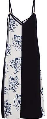 Victoria Victoria Beckham Victoria, Victoria Beckham Paneled Printed Crepe Slip Dress