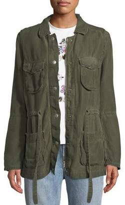 AG Jeans Carell Snap-Front Cinched-Waist Utility Jacket