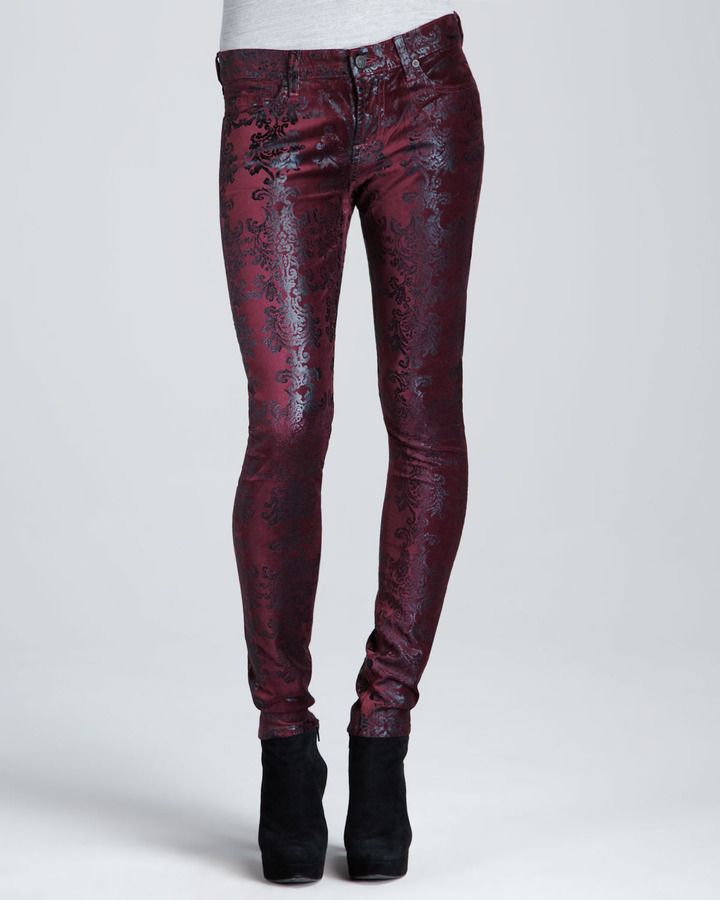7 For All Mankind Metallic Chinoiserie Jeans, Burgundy/Gold